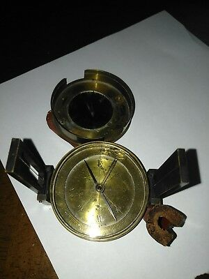 Antique vintage Brass Compass made in france