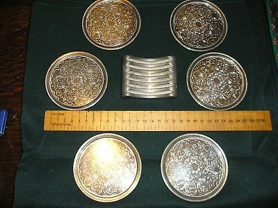 SET OF 6 Lianthe HEAVY QUALITY SILVER PLATE COASTERS & Stand