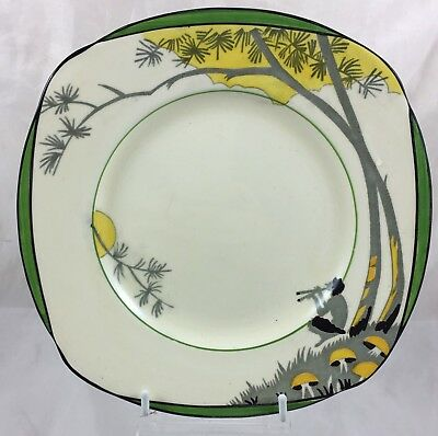 Vintage Art Deco Burleigh Ware Pan Design Side Plate 19 Cm / 7.5 Inches