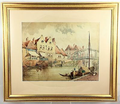 19th CENTURY VICTORIAN WATERCOLOUR OF HOLLAND CANAL SCENE  FRANK M HARVEY 1888