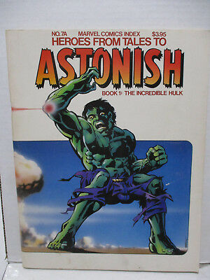 1978 Marvel Comics Index 7A Heroes from Tales to Astonish Book 1 Incredible Hulk