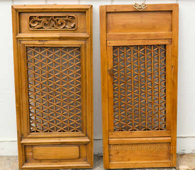Large Pair antique Chinese panels dragon motif and lattice work Shandong OCT66
