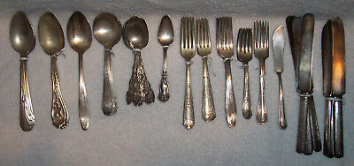 Vintage Silverplate Silverware Flatware - Mixed Lot Of 53 Pieces - Early 1900`s