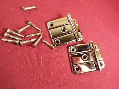 Pair of Vintage Chrome Offset Cabinet Hinges Deco Modern 40's 50's