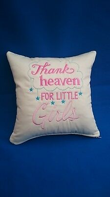 "Bespoke Hand made Cushion with embroidery for baby girl 16"" X 16"" Gift Shower Pr"