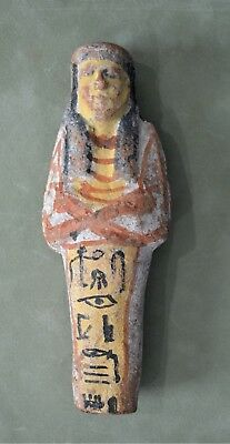 "Egyptian Ushabti, c.19th-20th Dynasty (1307-1070 B.C.) 6 1/4"" Hieroglyphics COA"