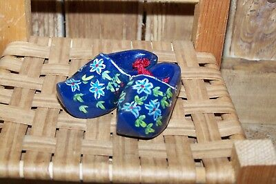 Miniature Hand Painted Wooden Shoes Made in Holland Ornament Souvenir