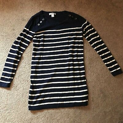 Motherhood Maternity Navy & White Striped Pullover Sweater Long Sleeve - Small