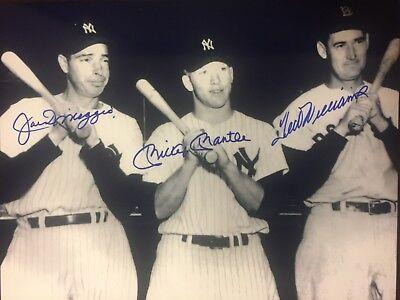 Mickey Mantle Joe Dimaggio Ted Williams  8x10 signed