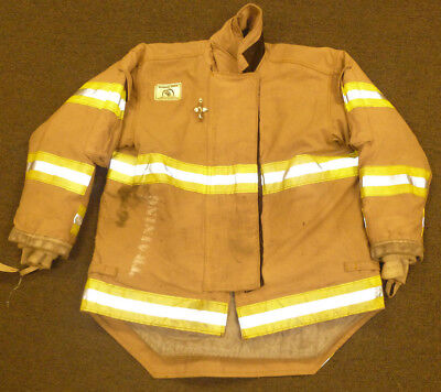 48x31 Firefighter Jacket Coat Bunker Turn Out Gear Brown Morning Pride J573