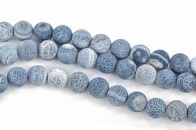 8mm DENIM BLUE Frosted AGATE Round Beads, Natural Gemstone Beads strand, gag0310