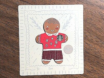 Starbucks Gift Card 2018 NEW Die Cut Gingerbread Man Winter Holiday No $ Value