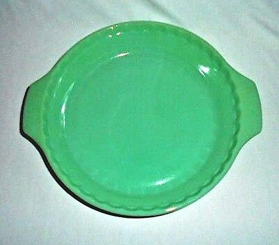 "Vintage Fire King Jadeite Green Anchor Hocking 10"" Fluted Handle Pie Pan Mint"