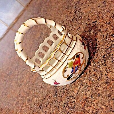Vintage Ceramic Basket Herend Hungary Hand Painted  Collectable ornament
