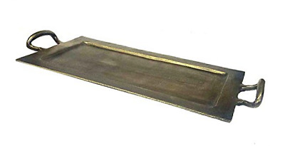 Zuccor Cast Aluminum Serving Tray in Antique Bronze Finish, Large, Gold