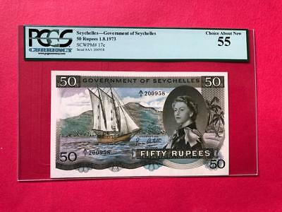 Seychelles 1973 50 Rupees 01/08/1973,  P-17e PCGS Choice About New 55
