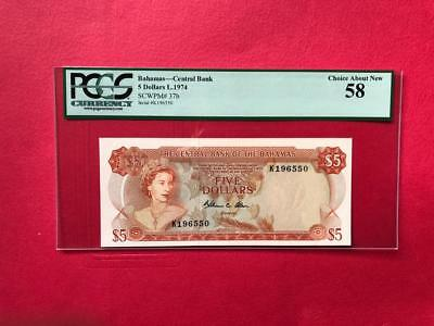 Bahamas 5 Dollars 1974  P37b, Queen Elizabeth II,  PCGS Choice About New 58
