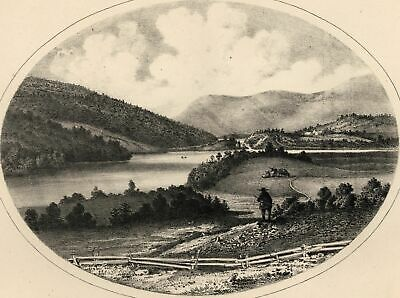 Plymouth Ponds Vermont 1861 lithographed panoramic view print from the south