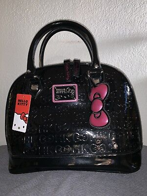 Loungefly Hello Kitty by Sanrio Large Emboss Patent Leather Purse Bag Tote Black