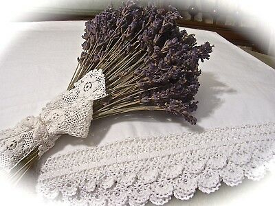 Vintage Pair Of Pillowcases~White On White~Lovely Hand Applied Crochet Lace Trim