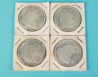 4 Unique Chinese Silver-Plated Copper Commemorative Coin Collection Gift