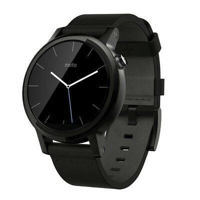 Motorola Moto 360 2nd Gen 42mm Smartwatch Leather Band - Black/Black