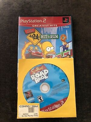 The Simpsons Hit & Run (Sony PlayStation 2 PS2, 2003) & Road Rage 2 Games