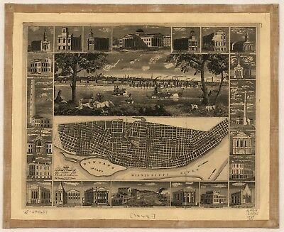 A4 Reprint of American Cities Towns States Map St Louis Missouri