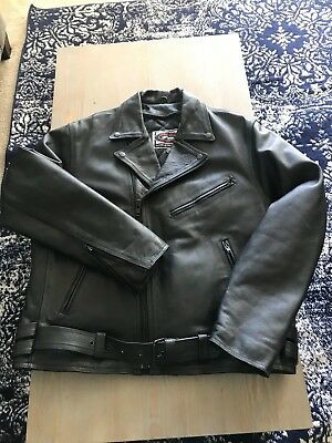 River Road Black Leather Men's Motorcycle Jacket Size 46 with removable Lining