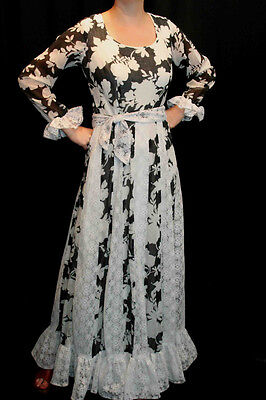 M~L VTG 60s 70s B/W MAXI Garden Party DRESS MOD FLORAL SHEER VOILE CROCHET LACE