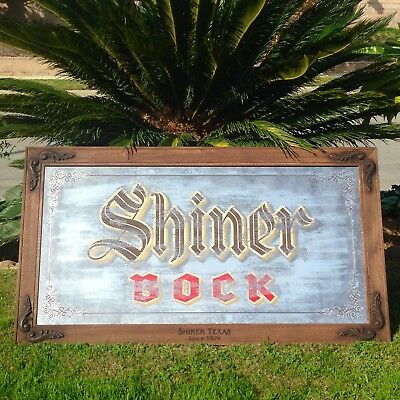 "Shiner Bock Texas Beer Bar Whiskey Pub Man Cave Big Mirror Sign ""New"" 53x29"