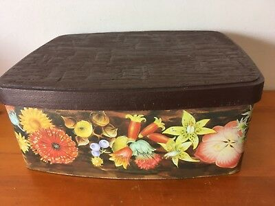 Vintage Willow cake tin canister, bread bin, FLORAL
