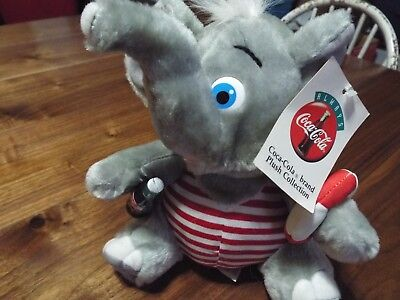 """Coca Cola Brand Plush Collection 1993 Lifeguard Elephant 8"""" Tags Holding Bottle"""