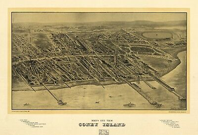 A4 Reprint of American Cities Towns States Map Coney Island