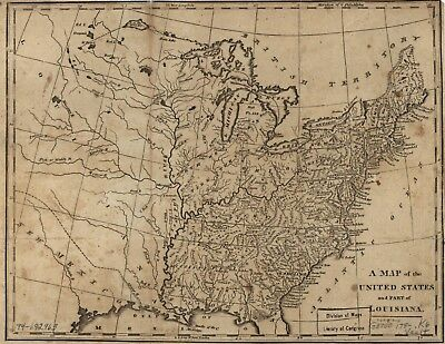 A4 Reprint of French Canadian Map North USA Canada
