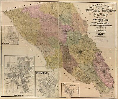 A4 Reprint of American Cities Towns States Map Solano County California