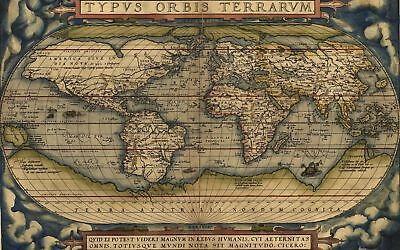 A4 Reprint of Old Maps Reprinted Map Of The World Blues Green Colours