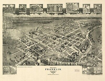 A4 Reprint of  USA Cities Towns States Map Franklin Southampton Virginia