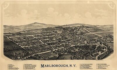 A4 Reprint of American Cities Towns States Map Marlborough Ny