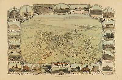 A4 Reprint of  USA Cities Towns States Map Bakersfield Kern California