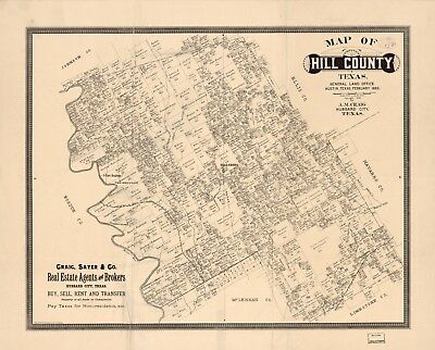 A4 Reprint of American Cities Towns States Map Hill County Texas