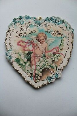 Cupid & Lily of the Valley Flowers Valentine Ornament * Vtg Card Image * Glitter