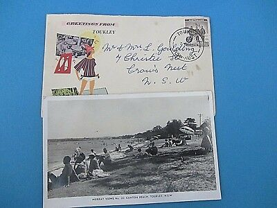 VINTAGE photo POSTCARD TOUKLEY  NSW with 5D Antarctic stamp tourist cover
