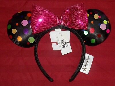 Disney Parks Mickey Minnie Mouse Rock the Dots 2019 Bow Sequin Ear Headband NEW