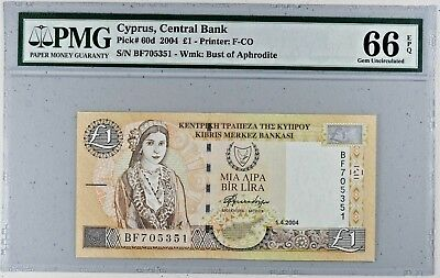 2004 Central Bank of Cyprus 1 Pound P-60d # NR #  PMG 66 EPQ