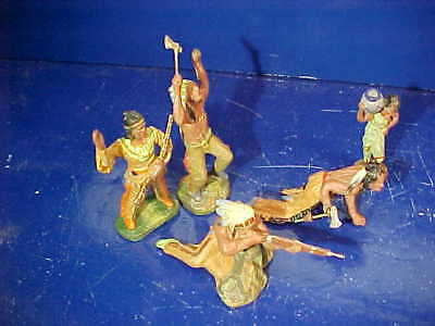 5-1930s ELASTOLIN Germany HAND PAINTED Composition Toy INDIAN Figures
