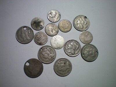 3 Cent Silver, 3 Cent Nickel,seated 10 C Cull Lot / 6 3 Cent Silver 3 3Cn, 1 10C