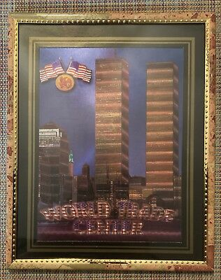 """World Trade Center Picture Framed 3D Twin Towers 8"""" X 10"""" New"""