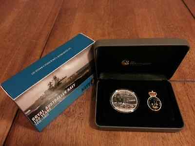 2011 PERTH MINT ROYAL AUSTRALIAN NAVY 100 YEARS 1oz SILVER COIN AND BADGE