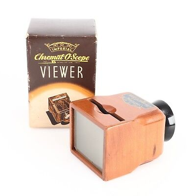 ~Vintage 1940s Wooden Chromat-O-Scope Viewer for Kodachrome Slides w/ Box
